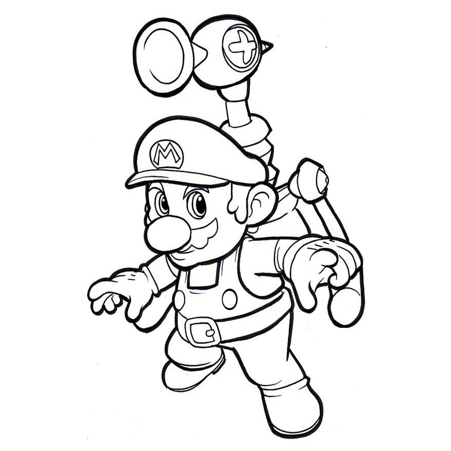 Desenho De Super Mario Bros Equipado Para Colorir