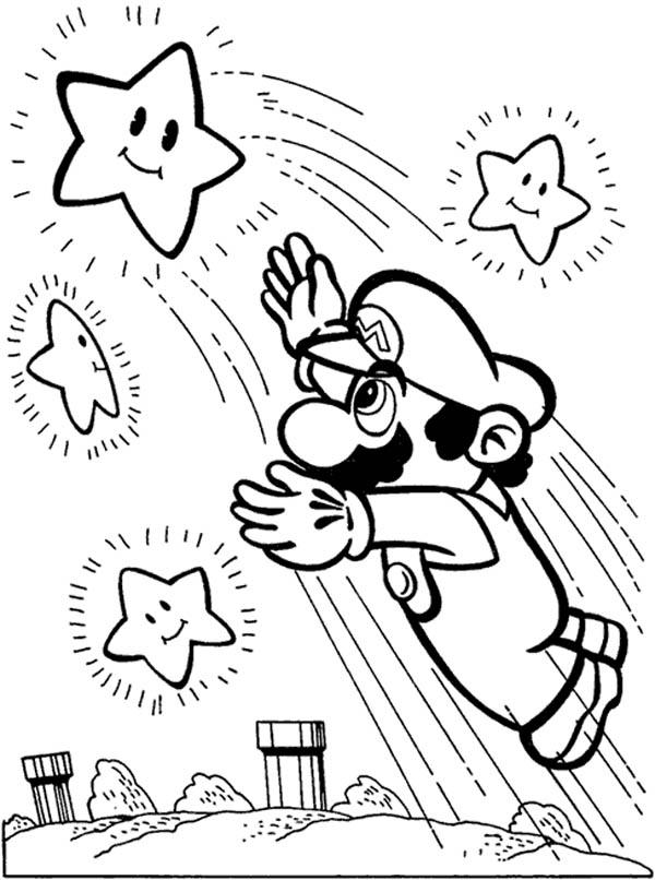 Desenho De Super Mario Pegando Estrelas Para Colorir Tudodesenhos