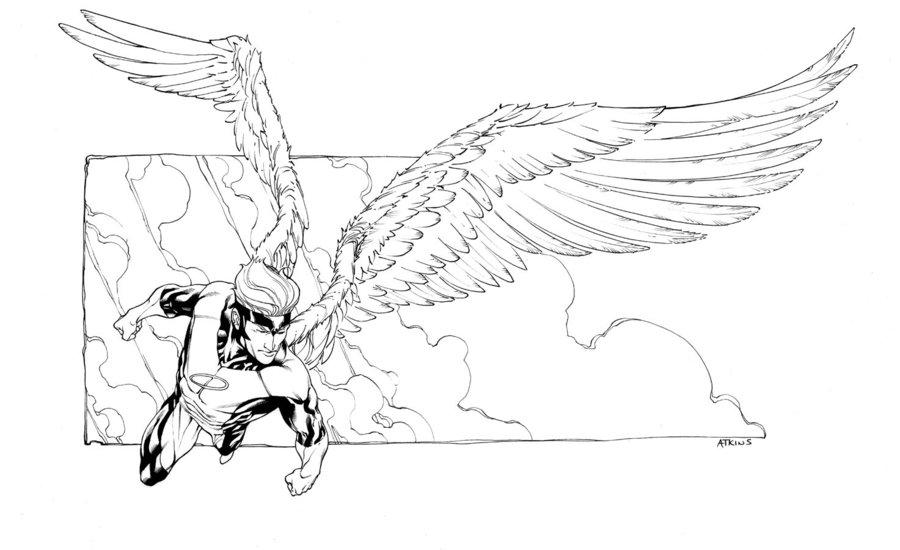 Desenho De Anjo De X-Men Voando Para Colorir