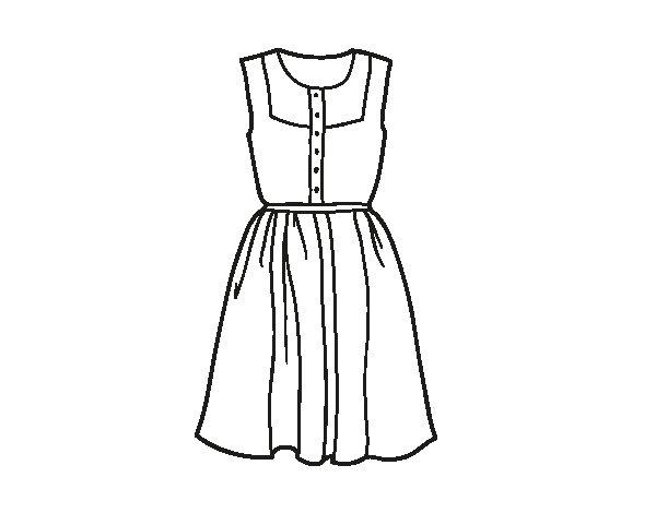 Dibujos De Vestidos Para Colorear E Imprimir: Desenho De Vestido Leve Para Colorir