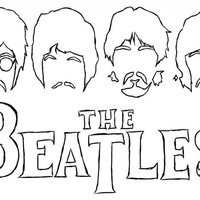 Desenho de Faces dos integrantes de The Beatles para colorir