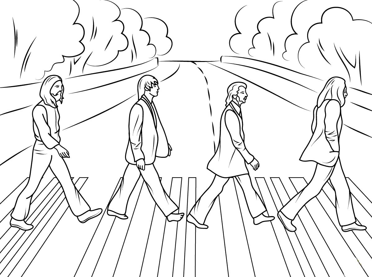 Desenho de The Beatles na Abbey