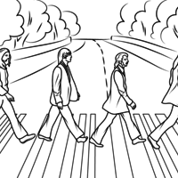 Desenho de The Beatles na Abbey Road para colorir