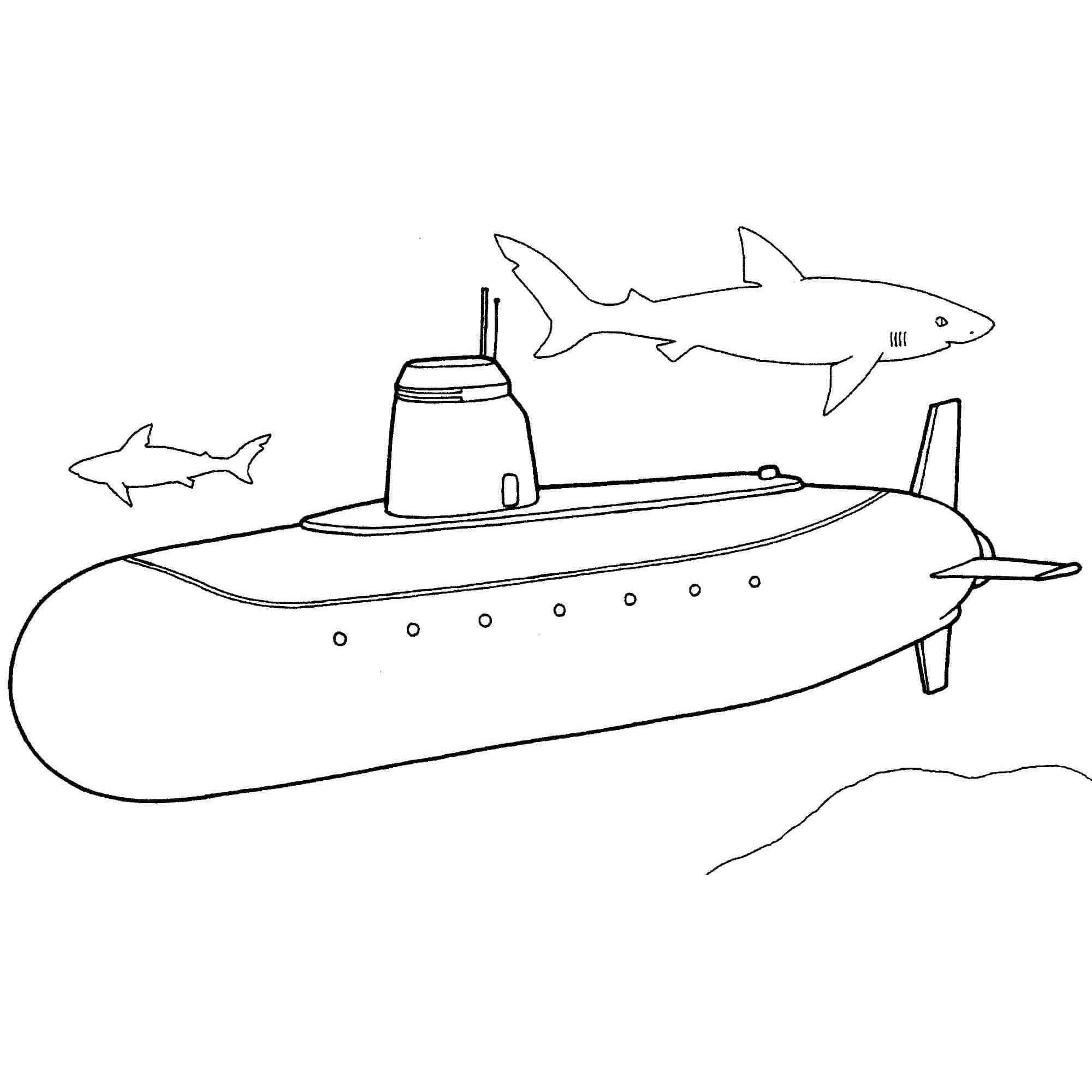 Desenho De Submarino E Tubarões Para Colorir
