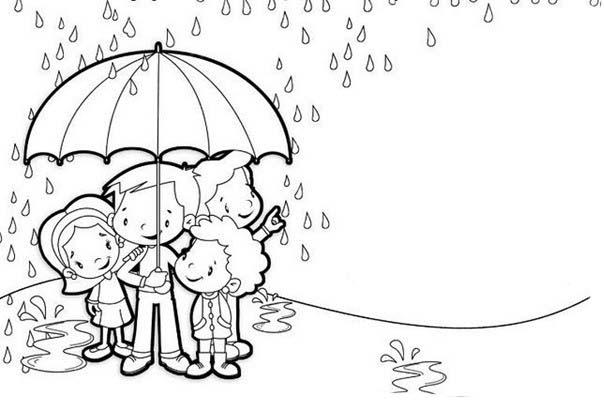 Muitas vezes Desenho de Tabuada com menina na chuva para colorir - Tudodesenhos NR01