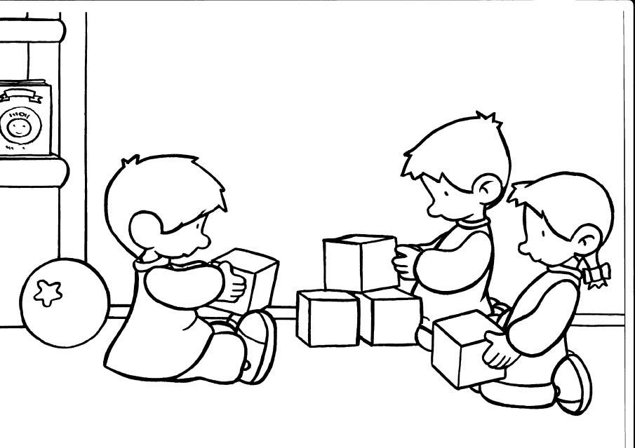 Desenho De Meninos Dividindo Brinquedos Para Colorir