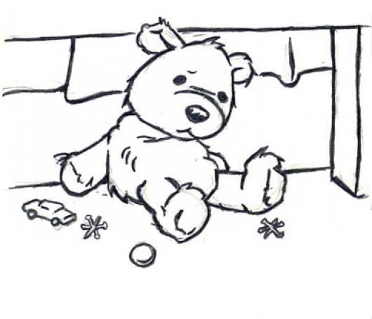 Desenho De Ursinho Sozinho E Triste Para Colorir