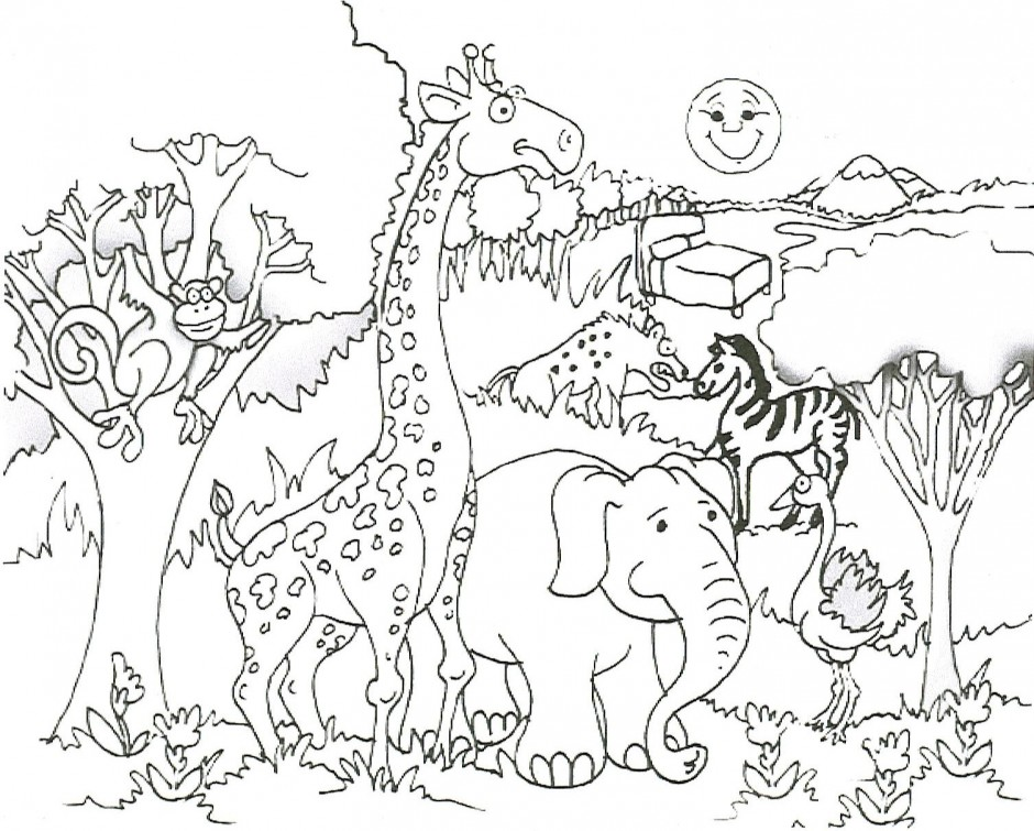 Desenho De Animais Do Zoológico Reunidos Para Colorir: Desenho De Animais Do Safari Africano Para Colorir