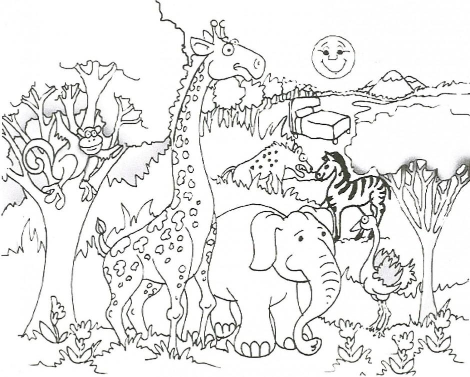 Desenho De Animais Do Safari Africano Para Colorir