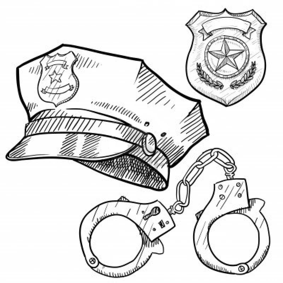 Desenho De Acessorios De Policial Para Colorir Tudodesenhos