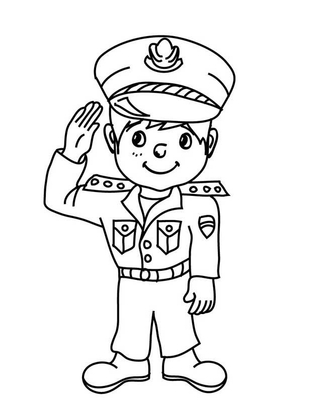 Desenho De Menino Policial Para Colorir Tudodesenhos