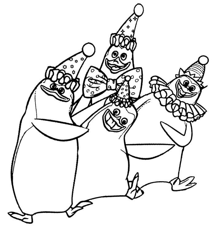 Desenho De Palhacos De Pinguins De Madagascar Para Colorir