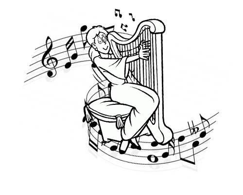 Desenho De Arpa E Notas Musicais Para Colorir Tudodesenhos