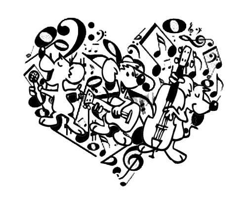 Desenho De Coracao E Notas Musicais Para Colorir Tudodesenhos