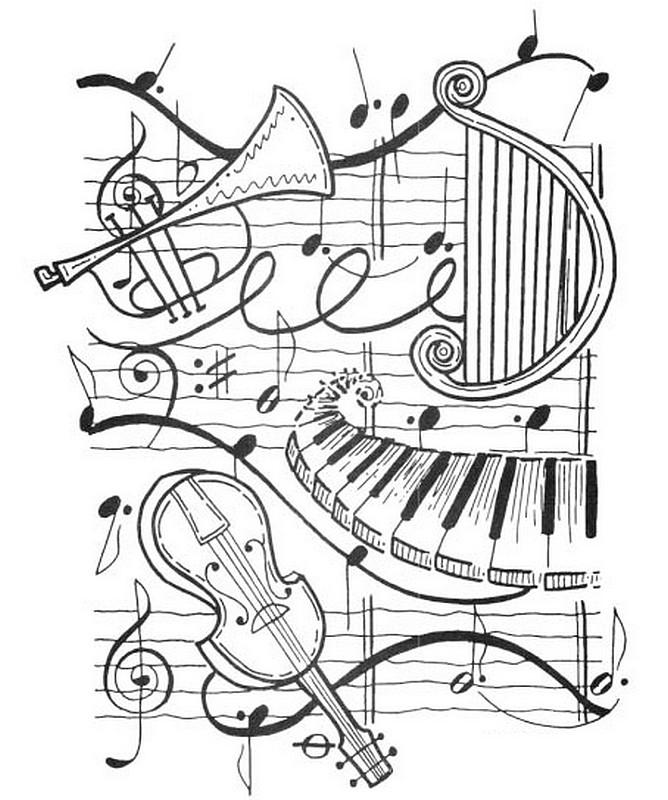 Desenho De Notas E Instrumentos Musicais Para Colorir