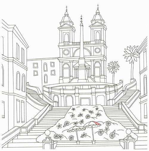 Desenho De Praca Da Espanha Em Roma Para Colorir