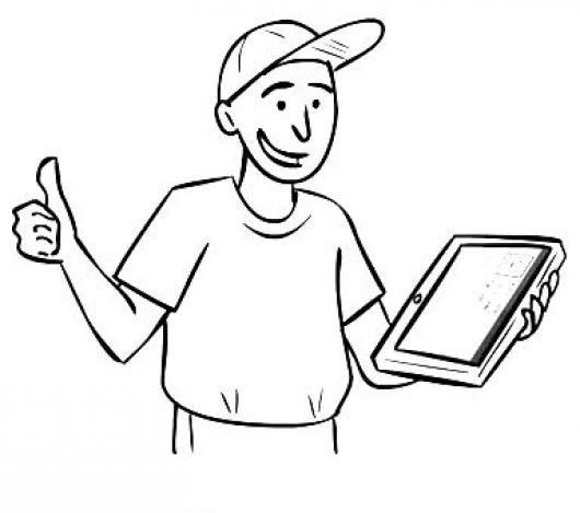 Desenho de Menino usando tablet para colorir - Tudodesenhos