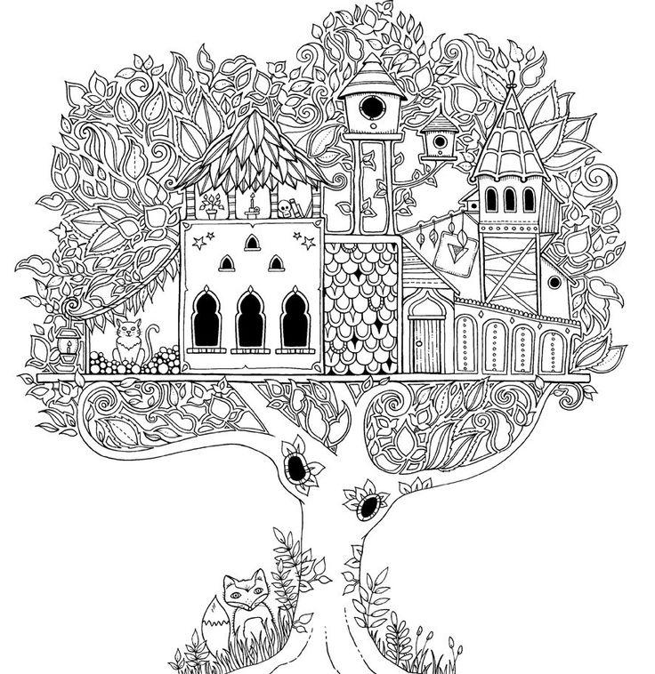 desenho de casa de árvore difícil para colorir tudodesenhos