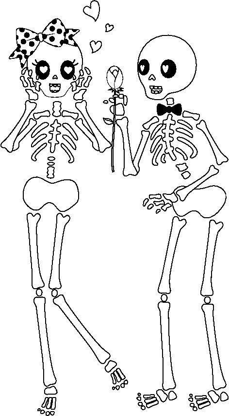 Desenho de Dois esqueletos apaixonados para colorir