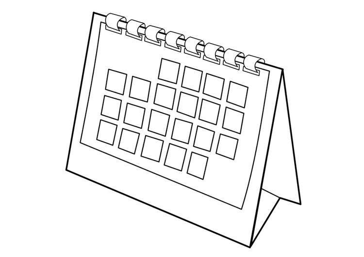 Desenho de Calendário de mesa para colorir - Tudodesenhos