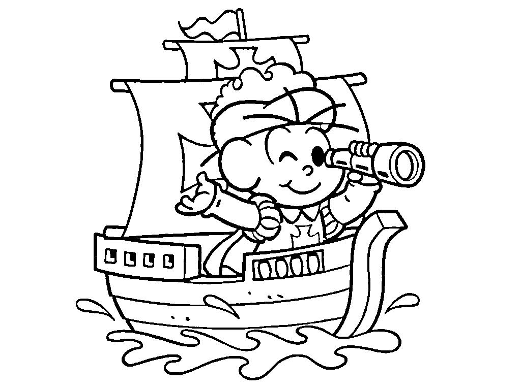 Desenho De Cebolinha Na Caravela Para Colorir