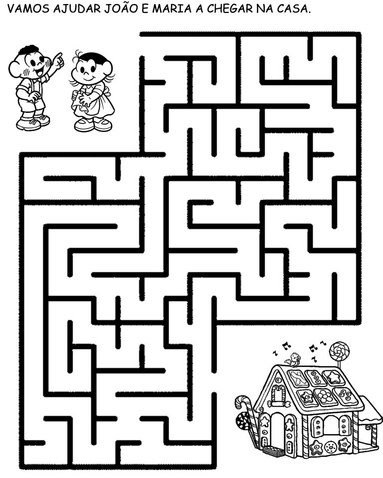 desenho de jogo do labirinto joão e maria para colorir tudodesenhos