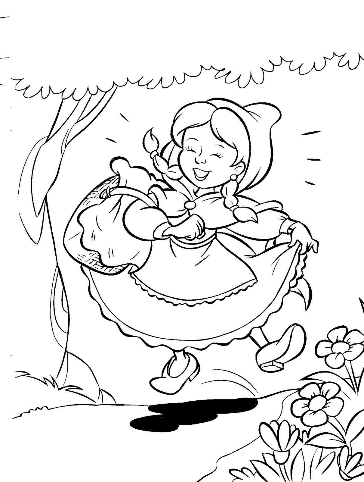 Desenho De Chapeuzinho Vermelho Cantando Para Colorir Tudodesenhos