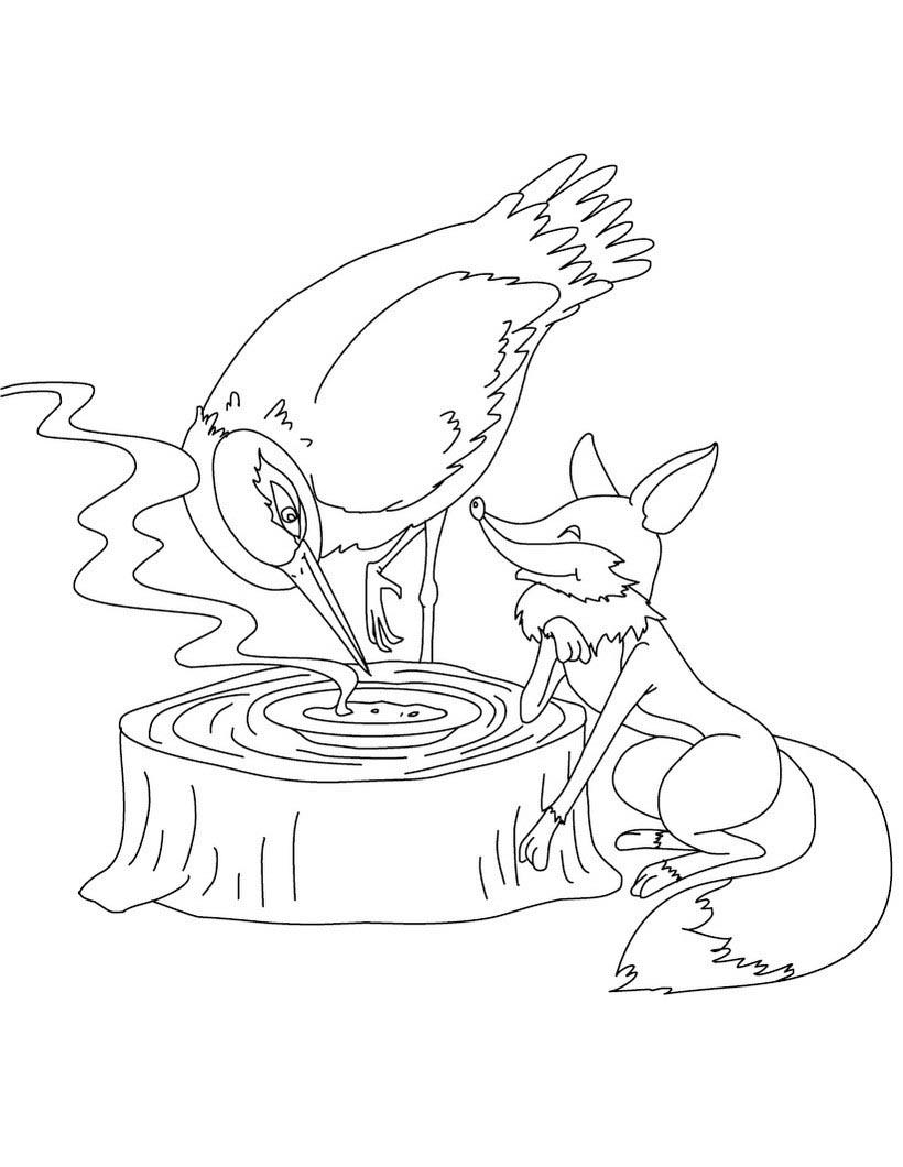 Desenho de raposa elogiando o corvo para colorir tudodesenhos - Le renard et la cigogne dessin ...