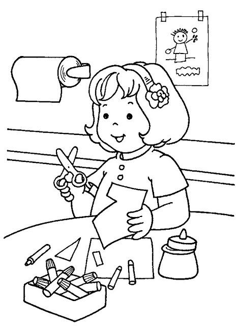 Desenho De Menina Brincando De Recortar Para Colorir