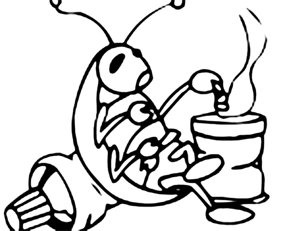 Desenho De Barata Comendo Para Colorir