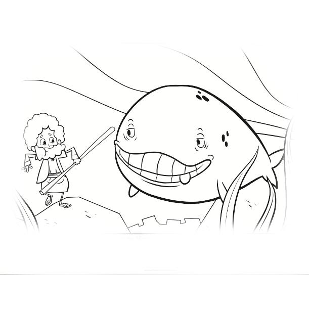 desenho de jonas e a baleia para colorir tudodesenhos