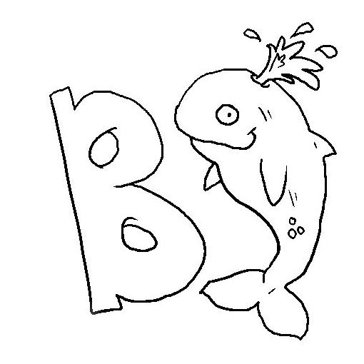 desenho de letra b de baleia para colorir tudodesenhos
