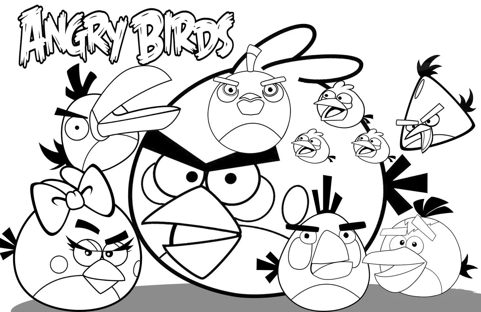 Desenhos Para Imprimir Do Angry Birds: Desenho De Red, Azul, Bomb E Amigos Do Angry Birds Para
