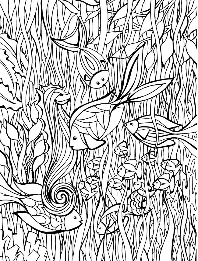 desenho de zentangle peixes para colorir tudodesenhos