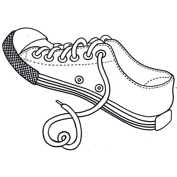 desenho de tênis com cadarço para colorir tudodesenhos