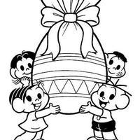 Desenho de Turma da Monica com ovo de páscoa gigante para colorir