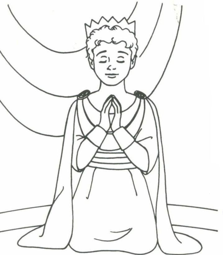 Desenho De Rei Davi Rezando Para Colorir