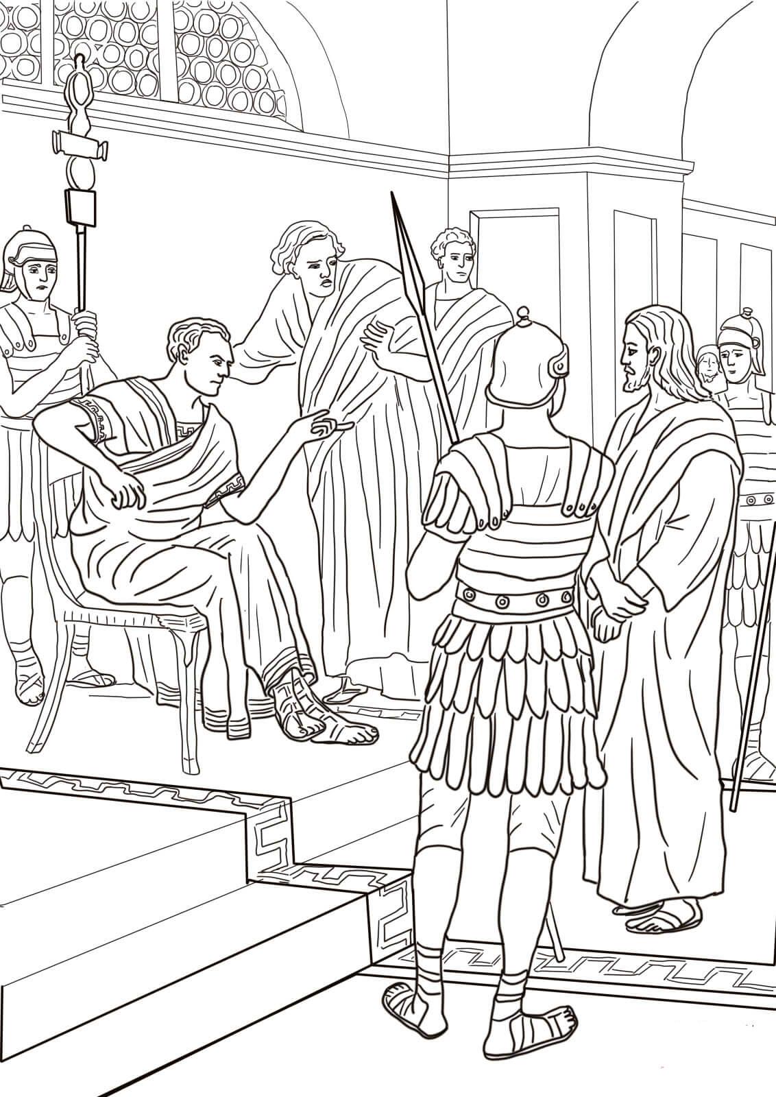 desenho de jesus e pilatos para colorir  tudodesenhos