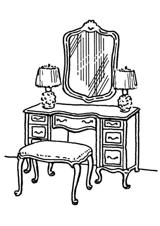 Desenho de penteadeira no quarto para colorir tudodesenhos for Comedor para dibujar
