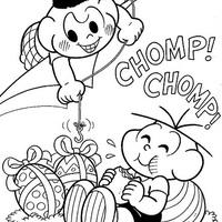 Desenho de Cascão roubando ovo da páscoa para colorir