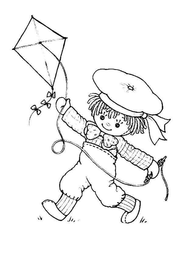 Fabuloso Desenho de Bonequinha soltando pipa para colorir - Tudodesenhos WG59