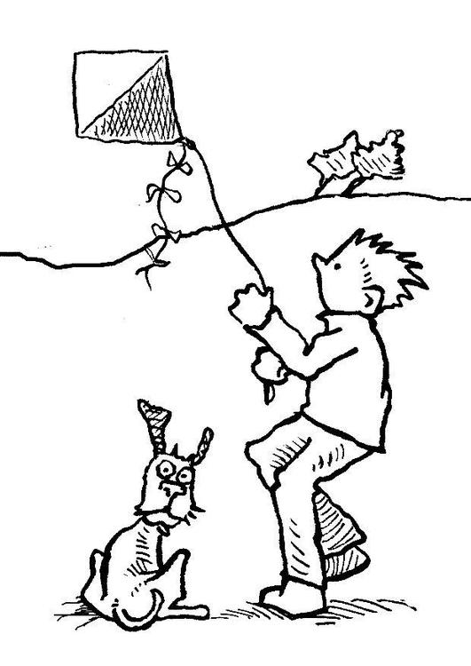 Preferência Desenho de Menino e cachorro soltando pipa para colorir - Tudodesenhos SS11