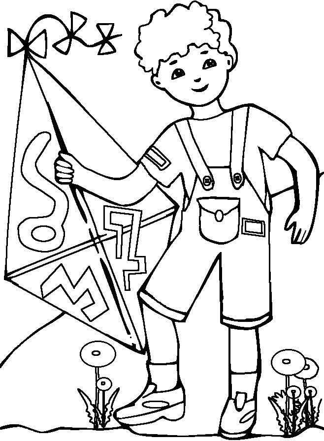 Populares Desenho de Menino segurando pipa para colorir - Tudodesenhos LV54