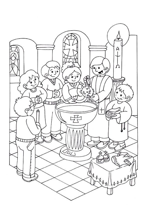 desenho de pila do batismo para colorir tudodesenhos