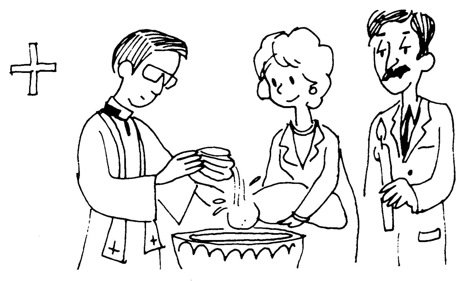 Desenho de Padre batizando bebê para colorir - Tudodesenhos