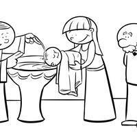 desenho de batizado para colorir tudodesenhos