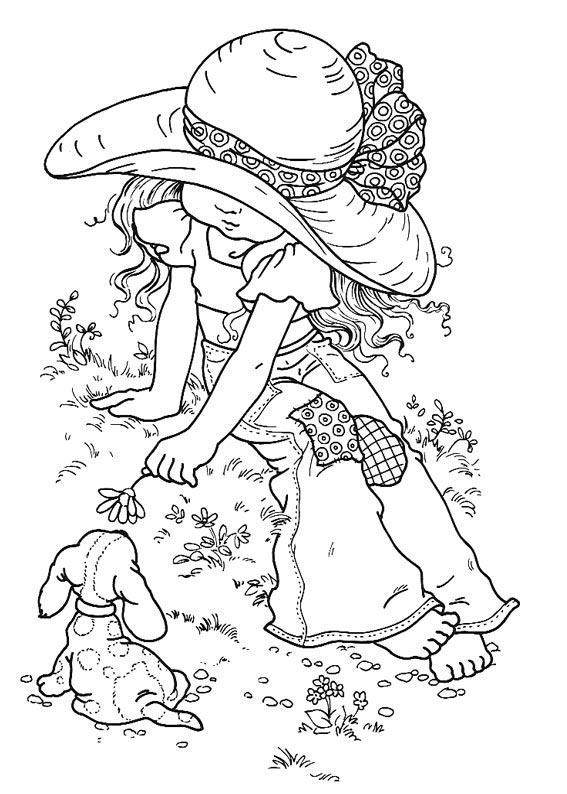 Desenho De Menininha Linda Com Cachorrinho Para Colorir Tudodesenhos