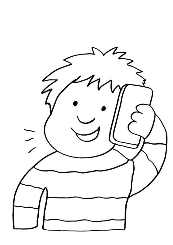 Desenho De Menino Falando Pelo Celular Para Colorir Tudodesenhos