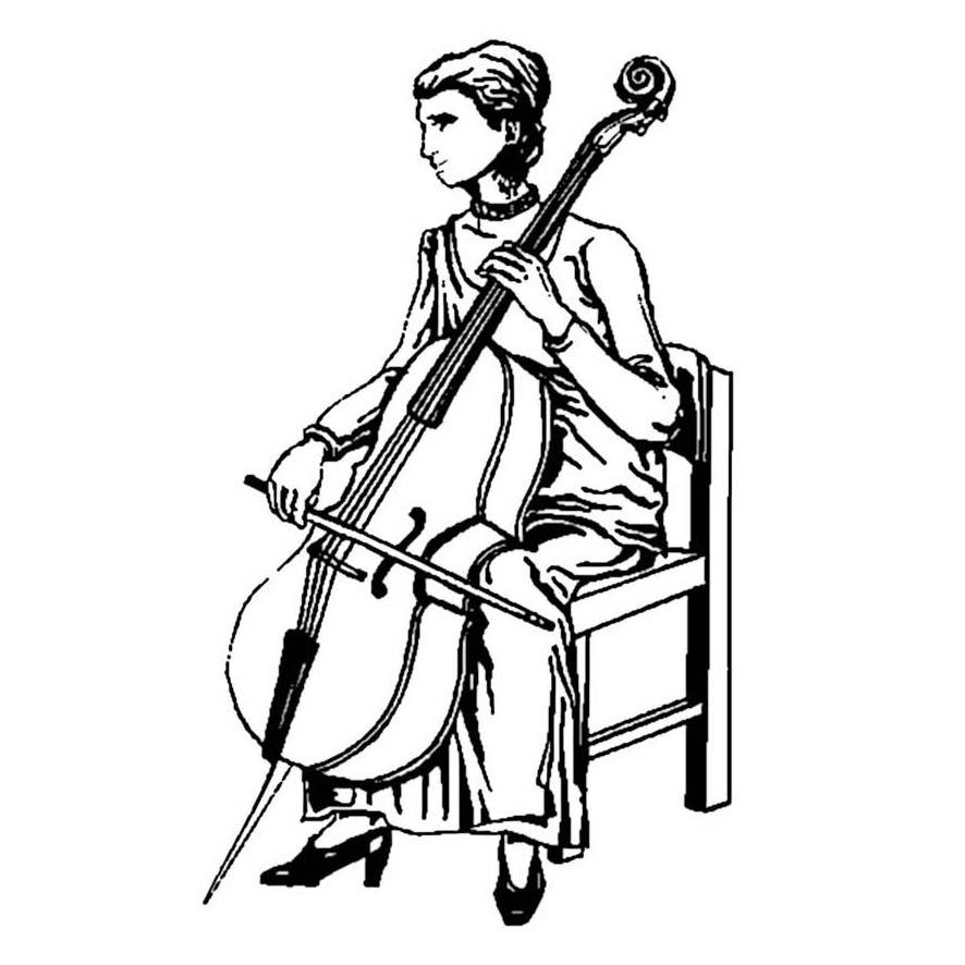 Desenho De Mulher Tocando Violoncelo Para Colorir