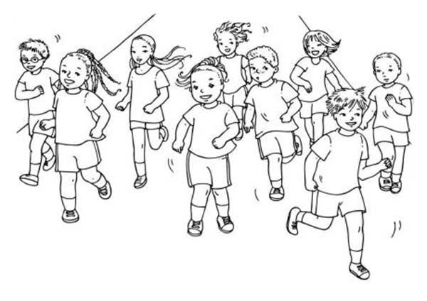 Desenho De Alunos Correndo Juntos Para Colorir